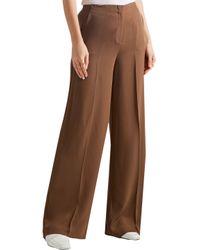 Theory - Brown Ryeridge Silk-Crepe Wide-Leg Pants - Lyst