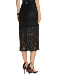Jason Wu - Black Felted Wool-blend And Lace Skirt - Lyst