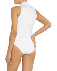 Donna Karan - White Stretch Cotton-blend Bodysuit - Lyst