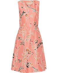 Marni | Multicolor Floral-print Cotton And Silk-blend Dress | Lyst