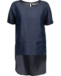 Jonathan Simkhai - Blue Faux Leather-trimmed Chambray Top - Lyst