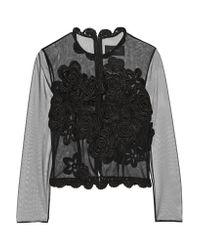 Simone Rocha | Black Crochet-trimmed Tulle Top | Lyst