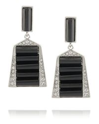 Kenneth Jay Lane - Black Silver-tone Crystal And Resin Earrings - Lyst