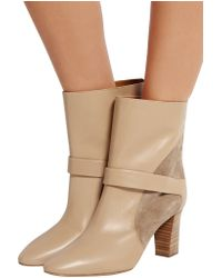 Chloé - Natural Suede-paneled Leather Ankle Boots - Lyst