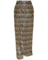 Baja East - Metallic - Lurex-fringed Chiffon Wrap Skirt - Gold - Lyst