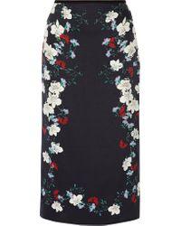 Erdem | Blue Maira Floral-print Silk-satin Midi Skirt | Lyst