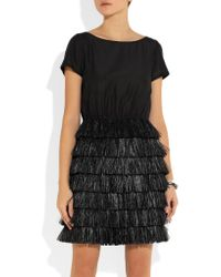 Boutique Moschino - Black Raffia-trimmed Cotton And Silk-blend Dress - Lyst