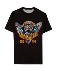 Versace - Black Printed Cotton-jersey T-shirt - Lyst