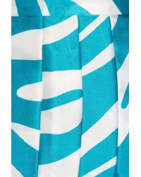 Versus - Blue Pleated Zebra-print Silk Skirt - Lyst