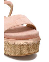 Stuart Weitzman - Woman Braided Leather-trimmed Denim And Raffia Platform Sandals Pastel Pink - Lyst