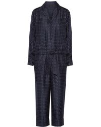 Rag & Bone - Blue Arthur Polka-dot Silk-twill Jumpsuit - Lyst