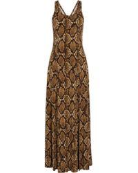 MICHAEL Michael Kors | Brown Printed Stretch-satin Jersey Maxi Dress | Lyst