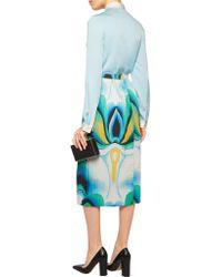 Vionnet - Blue Pleated Printed Stretch-cotton Midi Skirt - Lyst