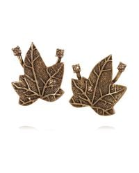 Oscar de la Renta | Metallic Ivy Gold-plated Crystal Clip Earrings | Lyst