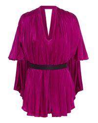 Issa   Pink Mira Belted Satin-jersey Bodysuit   Lyst