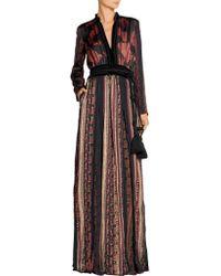 Lanvin - Multicolor Velvet And Grosgrain-trimmed Printed Satin Maxi Dress - Lyst