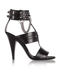 Saint Laurent | Black Studded Chain-embellished Leather Sandals | Lyst