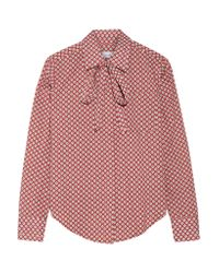 Title A - Pink Pussy-bow Printed Cotton-poplin Shirt - Lyst