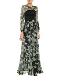 Matthew Williamson - Green Floral-print Pleated Silk-chiffon Gown - Lyst
