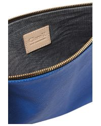 Clare V. Blue Supreme Textured-leather Clutch