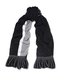 Magaschoni | Black Ruffle-trimmed Color-block Cashmere Scarf | Lyst