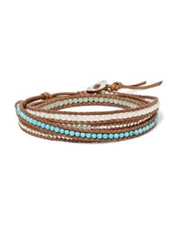 Chan Luu - Metallic Sterling Silver Beaded And Faux Pearl Leather Bracelet - Lyst