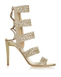 Jimmy Choo | Lima Braided Suede And Metallic Leather Sandals | Lyst