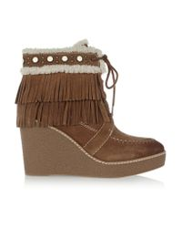 Sam Edelman | Brown Kemper Faux Shearling-lined Fringed Suede Wedge Boots | Lyst