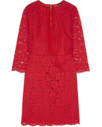 DKNY | Red Silk Organza-paneled Guipure Lace Dress | Lyst
