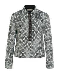 Tory Burch   Blue Embellished Cotton-blend Jacquard Jacket   Lyst