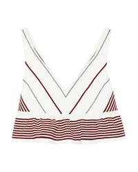 Elizabeth and James | White Annaline Cropped Striped Crepe Top | Lyst