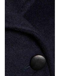 Line | Blue Drew Faux Fur And Leather-trimmed Felt Coat | Lyst