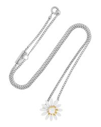Saint Laurent - White Daisy Enameled Silver-tone Necklace - Lyst