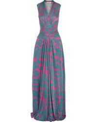 Issa - Blue Hazelle Printed Silk-blend Satin Jersey Maxi Dress - Lyst