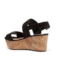 Schutz - Black Fanika Suede Platform Sandals - Lyst
