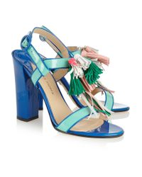 Paul Andrew | Blue Arta Tassel-embellished Patent-leather Sandals | Lyst