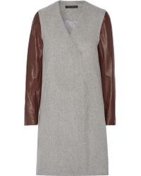 Theory | Gray Quennel Leather-paneled Felted Wool-blend Coat | Lyst