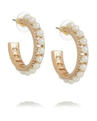 Kenneth Jay Lane | Metallic Gold-tone Faux Pearl And Crystal Earrings | Lyst