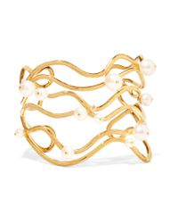 Aurelie Bidermann | Metallic Gold-plated Pearl Cuff | Lyst