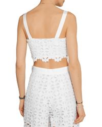 Miguelina - White Hazel Cropped Crocheted Cotton Top - Lyst