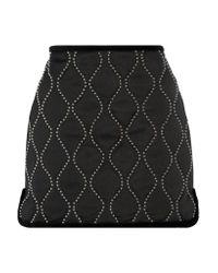 Alexander Wang | Natural Velvet-trimmed Embellished Satin Mini Skirt | Lyst