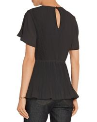 MICHAEL Michael Kors - Black Pleated Georgette Top - Lyst