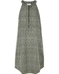 Splendid - Green Printed Satin-twill Mini Dress - Lyst