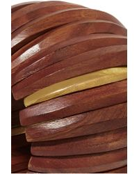 Kenneth Jay Lane - Brown Gold-plated Wood Bracelet - Lyst
