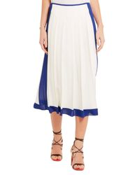 Victoria Beckham - White Georgette-trimmed Pleated Crepe Midi Skirt - Lyst