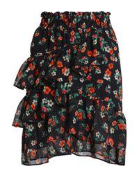 Maje - Woman Ruffled Floral-print Georgette Mini Skirt Black - Lyst