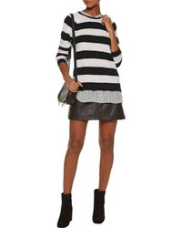 Joie - Black Aisly Silk-trimmed Striped Cashmere Sweater - Lyst