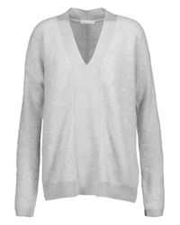 Duffy | Gray Stretch Knit-paneled Cashmere-blend Sweater | Lyst