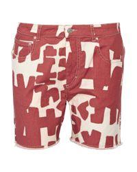 Isabel Marant | Red Kimmy Printed Denim Shorts | Lyst