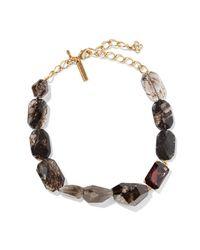 Oscar de la Renta Metallic - Gold-tone, Quartz And Crystal Necklace